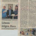 Löwen zeigen Herz - Verein Herz in die Hand dankt den Unterstüzern